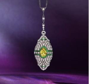 A Rare Early 20th Century Fancy Colored Diamond, Diamond and Emerald Pendant Necklace, circa 1910