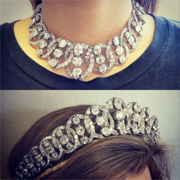 Tiara being worn in both forms. Image courtesy Christie's Inc. via Instagram