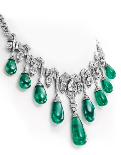 A stunning emerald and diamond necklace by Van Cleef & Arpels. Purchased by Princess Faiza of Egypt, the necklace fetched $4.2 million at auction Tuesday at Christie's Geneva