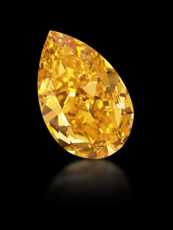 The Orange, a 14.82 carat Fancy Vivid Orange diamond that shattered world records with $2.38 million per carat